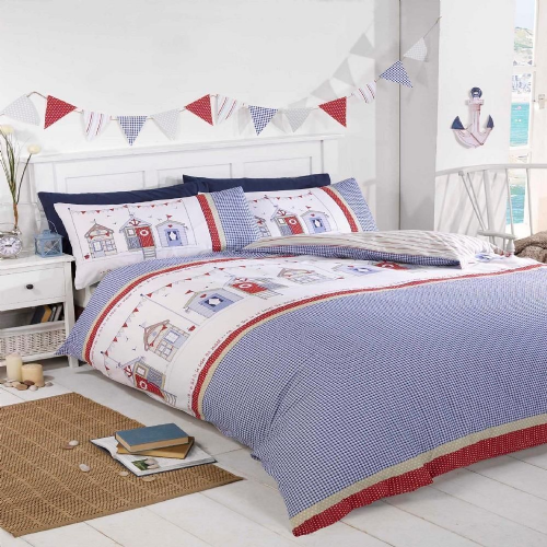"""Beach Huts"",Multi coloured, Single Duvet,Easy care, ""Signature Home"" by Rapport"
